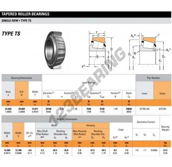 07100SA-07210X-TIMKEN - 25.4x50.8x15.01 mm