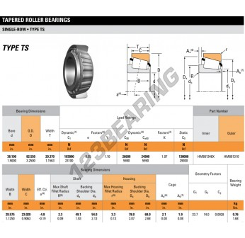 Tapered Roller Bearing HM801346-HM801310 38.1x82.55x29.37 MM