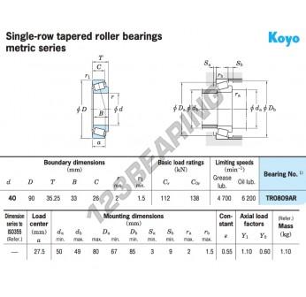 TR0809-ARYR1-KOYO - 40x90x35.25 mm