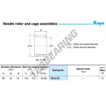 VS15-20-KOYO - 15x20x20 mm