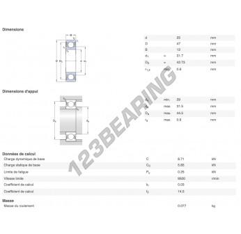 W6005-2RS1-VP311-SKF - 25x47x12 mm