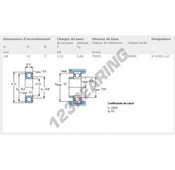 W61801-2Z-SKF - 12x21x5 mm