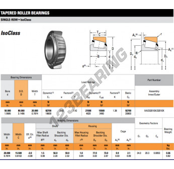 XAD32010X-32010X-TIMKEN - 50x80x20 mm