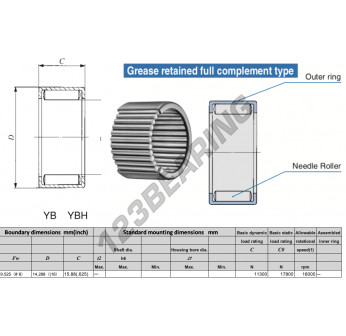 YB610-IKO - 9.53x14.29x15.88 mm