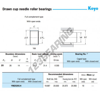 YM202614-KOYO - 20x26x14 mm